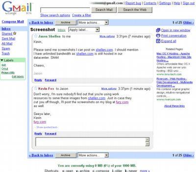 La première version de Gmail, en 2004.