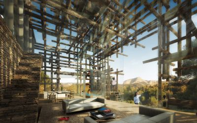 En Espagne, à deux heures de Barcelone, l'architecte japonais propose une maison qui s'abrite du soleil brûlant par un jeu de troncs d'arbres.