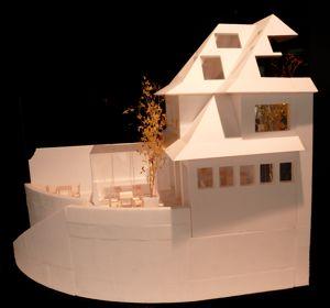 Maquette d'une maison en Normandie face à la Manche. Cherchant à effacer la frontière entre l'extérieur et l'intérieur.
