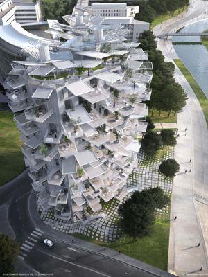 A Montpellier, le long du Lez, la nouvelle tour, baptisée l'Arbre blanc.
