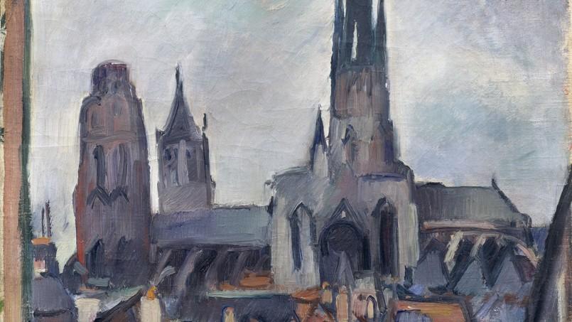<i>Etude de la cathédrale de Rouen</i>, 1908, huile sur toile d'Othon Friesz (détail).