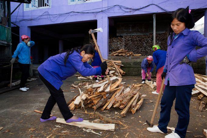 Et chaque matin également les épouses de Ziona se chargent de la corvée de bois. Sa dernière femme fend le bois sous le regard de son avant dernière femme.
