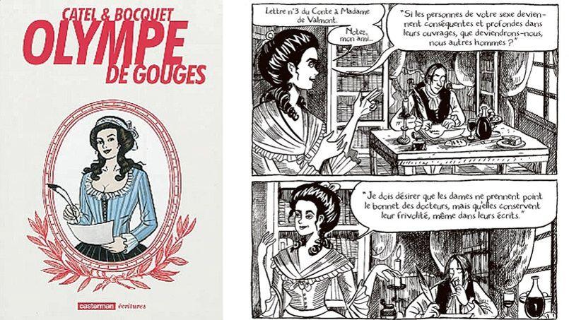 Couverture et planche de l'<i>Olympe de Gouges</i> par Catel & Boquet, aux éditions Casterman.