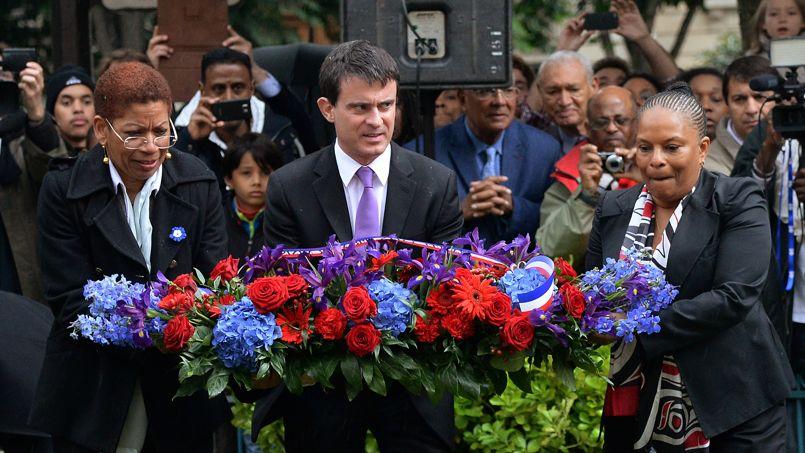 Christiane Taubira, Manuel Valls et George Pau-Langevin aux jardins du Luxembourg samedi 10 mai.