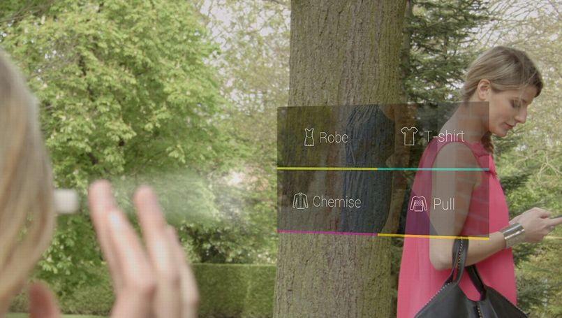 L'application Kiabi Look utilise la réalité augmentée des Google Glass pour promouvoir les vêtements Kiabi. Crédit: Kiabi