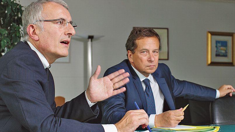 Guillaume Pepy, PDG de la SNCF, et Jacques Rapoport, celui de RFF.