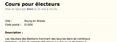 Sur Leboncoin.fr, il propose des cours de remise à niveau aux électeurs FN