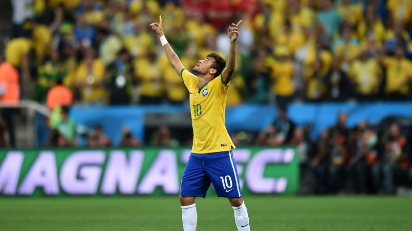 L'attaquant brésilien Neymar, après avoir marqué un but en Coupe du monde contre la Croatie, le 12 juin 2014.