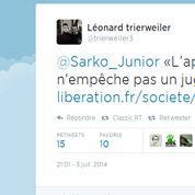 Le fils de Tri erweiler tacle celui de Sarkozy sur Twitter
