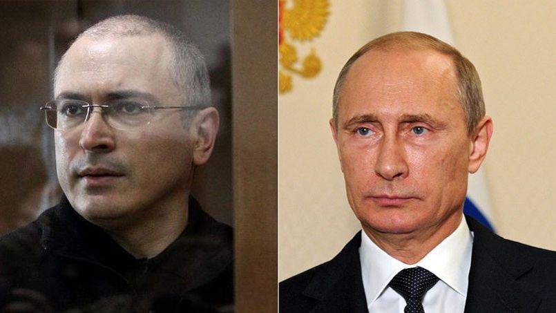 Mikhaïl Kodorkovski (à gauche) et Vladimir Poutine Crédit Photo: AFP