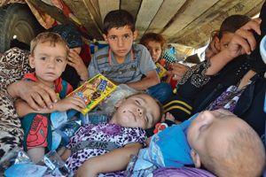 À bord d'un camion, des femmes et des enfants arrivent vendredi 8 août dans la ville de Souleimaniye au Kurdistan irakien.