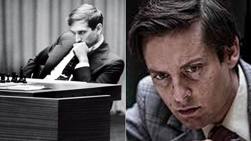 En 1972, l'américain Robert james Fischer devint champion du monde d'échecs en battant le grand maître russe Boris Spassky. Tobey Maguire (à droite) reprend l'intense concentration du joueur américain.