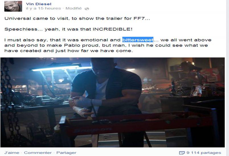 Fast & Furious 7: Paul Walker et Vin Diesel réunis sur un cliché inédit
