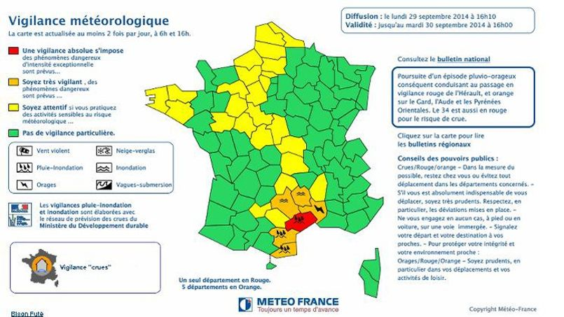 The d & # XE9; Department of H & # XE9; rault red alert for rains and floods Five other XE9 d & #;. departments are orange alert.