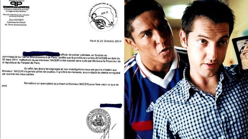 � gauche, le certificat de police qui blanchit Samy Nacery dans l'affaire du 2 mars 2014. Samy Naceri et Fr�d�ric Diefenthal dans <i>Taxi</i> (1998) de G�rard Pir�s.