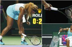 Serena Williams détruit sa raquette de rage