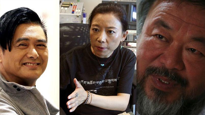 De gauche à droite: l'acteur Chow Yun-Fat, l'écrivain Tsering Woeser et l'artiste Ai Weiwei.