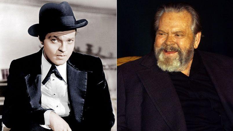 Orson Welles à deux époques de sa vie: en 1941, dans son film <i>Citizen Kane</i> et, en 1982, au cours d'une conférence à Paris.