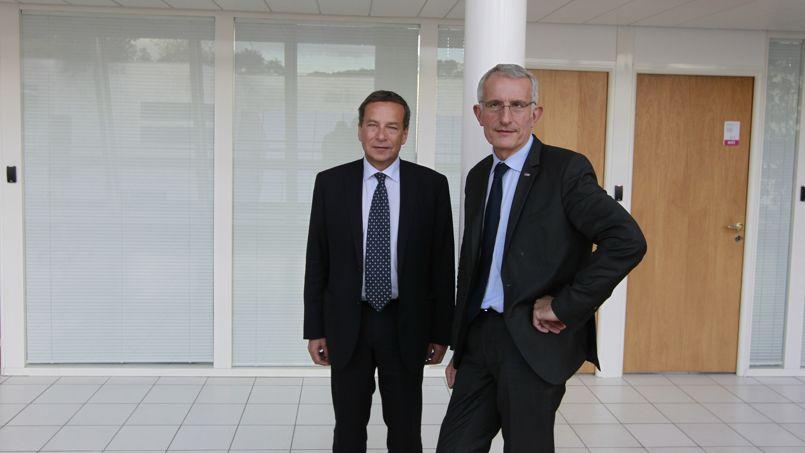 Jacques Rapoport et Gullaume Pepy, respectivement PDG de RFF et de la SNCF. Crédit photo: Sébastien Soriano/Le Figaro.