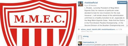 Le Brésilien Rivaldo vend son club sur Instagram