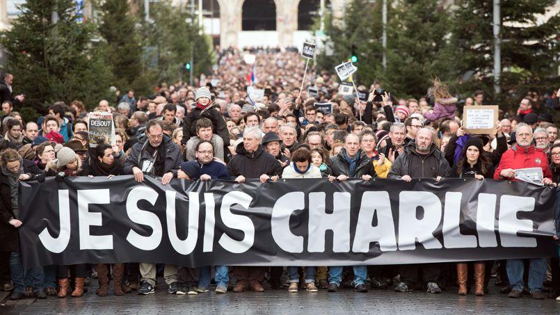 Parmi la multitude de pancartes brandies à Lille, on pouvait lire «je suis policier», «il faut s'aimer à tort et à travers», une autre montrait  La liberté guidant le peuple de Delacroix.