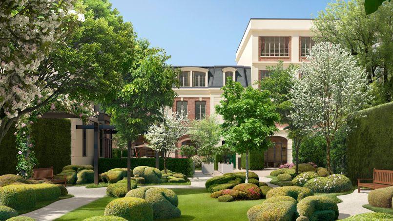 La Villa Grenelle affiche une densité de construction très faible pour Paris: environ un mètre carré de jardin pour un mètre carré de bâti.