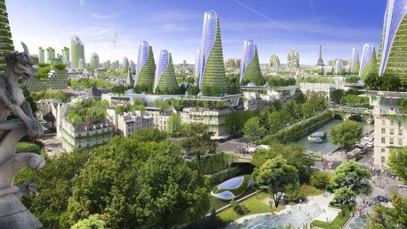 Vue globale de la capitale, avec tous ces aménagements à énergie positive. Crédit: Vincent Callebaut Architecte (VCA).