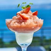 Granité fraise rhubarbe