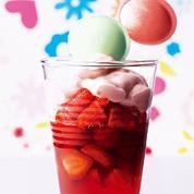 Confiture fraise framboise, crème et fraises tagada