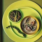 Palourdes, crème de poivre vert et flans de blette