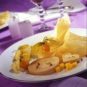 Le foie gras aux deux fruits : melon de Cavaillon et ses amours en cage