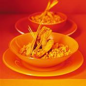 Crevettes sautées, dal au bouillon de curcuma