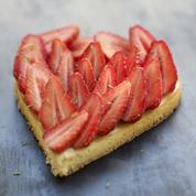 Tarte aux fraises en forme de cœur