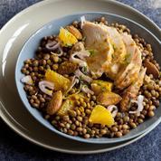 Salade de lentilles et poulet au curcuma