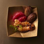 Langoustines, jus d'agrumes et madeleines au sarrasin