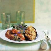 Agneau rôti et aubergines grillées
