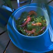 Crevettes sautées à la laitue de mer