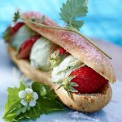 Éclairs glace pistache et fraises