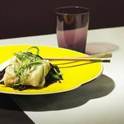 Lieu jaune au riz noir et ciboule