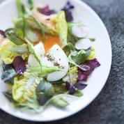 Salade de légumes mi-crus, mi-cuits, œuf mollet