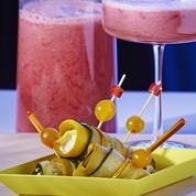 Rolls de courgettes et pink smoothie