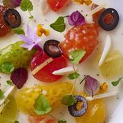 Tomates multicolores et gelée de burrata