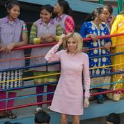 La petite robe rose de Brigitte Macron en Inde