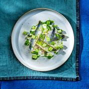 Pickles de sardines, yaourt grec, concombre et menthe