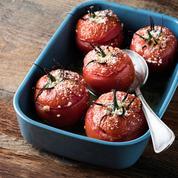 Tomates au caviar d'aubergines, chèvre frais