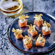 Saumon gravelax pulpe d'artichauts et craquants