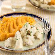 Poulet aigre-doux, purée de patate douce et légumes verts