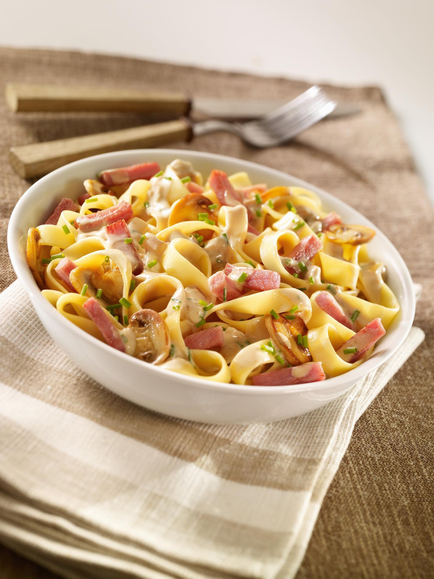 Recette tagliatelles au bacon, champignons, sauce aux ...