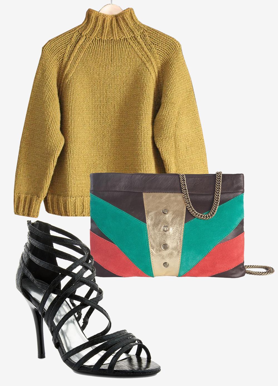 c9bd8cb5d92d2a À shopper sur le site UGotaWish : pull à col roulé Dior, sandales à talons  Bev & Ben, et pochette Mohekann.