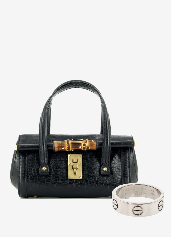 5c02b1a5ebce52 Repérés sur le site Collector Square : sac à main Bamboo Gucci et bague  Love en or blanc Cartier.